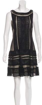 Alice + Olivia Lace Mesh-Trimmed Dress