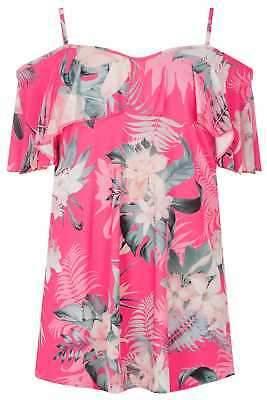 Yours Clothing Women's Plus Size Tropical Floral Print Cold Shoulder Top