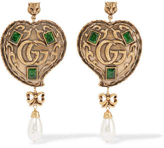 Gucci Burnished Gold-tone, Faux Pearl And Crystal Earrings - Brass