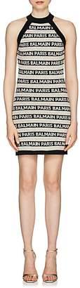 Balmain Women's Logo-Striped Linen-Blend Sleeveless Dress - Black
