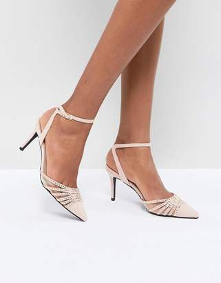 True Decadence Blush Embellished Pointed Mid Heeled Pumps