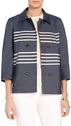 St. John Cotton Blend Stripe Denim Double Breasted Jacket