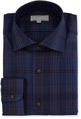 Neiman Marcus Overdye Plaid Dress Shirt