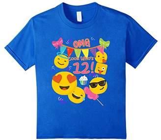Kid 12 Year Old Girl Emoji Birthday T Shirt OMG Look Whos 12
