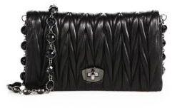 Miu MiuMiu Miu Crystal Matelasse Leather Fold-Over Pochette