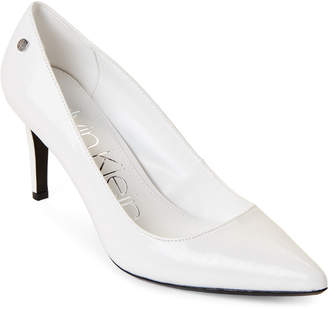 ddb2f888f8f8 Calvin Klein White Pointed Toe Pumps - ShopStyle