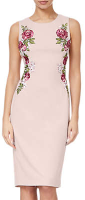 Adrianna Papell Knit Crepe Embroidered Dress, Blush