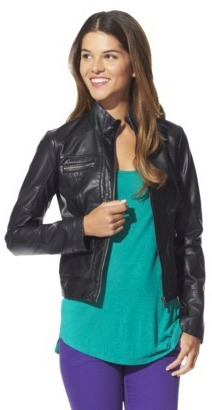 Xhilaration Junior's Perforated Faux Leather Jacket -Black