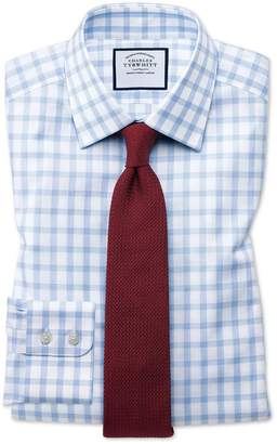 Charles Tyrwhitt Classic Fit Windowpane Check Sky Blue Cotton Dress Shirt Single Cuff Size 16.5/33