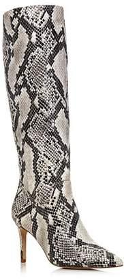 Aqua Women's Lenni Snake-Embossed Leather Tall Boots