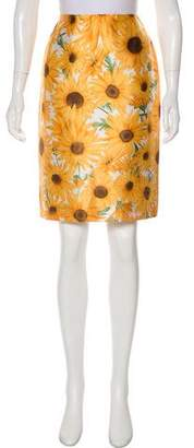 Dolce & Gabbana Silk Sunflower Print Knee-Length Skirt