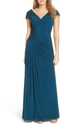 Women's La Femme Embellished Ruched Surplice Gown $528 thestylecure.com