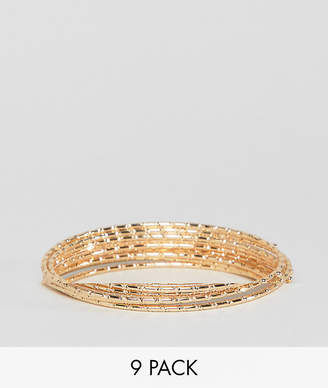 Asos DESIGN Pack Of 9 Bamboo Bangle Bracelets