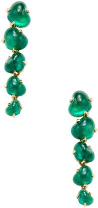 Women's 18K Yellow Gold & Heart Shape Emerald Linear Drop Earrings