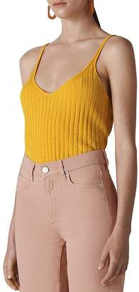 Whistles Ribbed-Knit Camisole Top