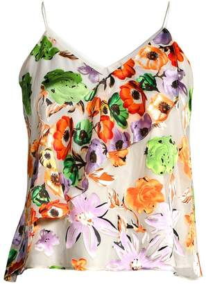 Alice + Olivia Lavonia Floral Cascading Ruffle Cami