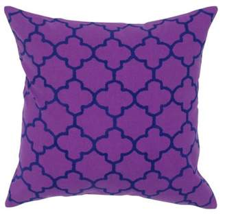 """Rizzy Home Moroccan tile pattern printed18"""" x 18""""Cotton decorative filled pillow"""