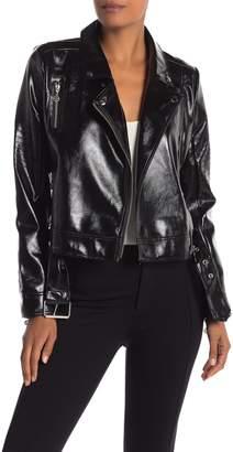 Nicole Miller Stitch Faux Leather Moto Jacket
