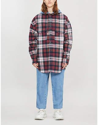 Juun.J Juun J Checked oversized cotton hooded shirt