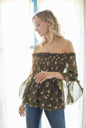 Glam Smocked Floral Bell Sleeve Blouse