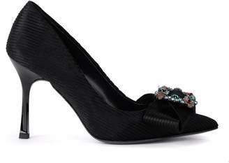 Tipe E Tacchi Black Velvet Decollete With Bow And Jewel Buckle.