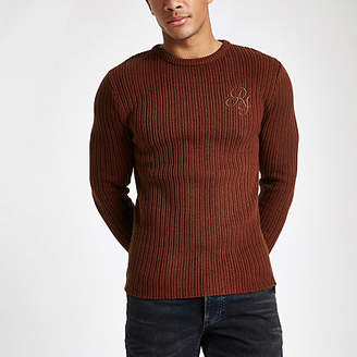 River Island Rust muscle fit rib crew neck sweater