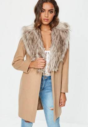 Missguided Camel Faux Fur Collar Short Formal Coat