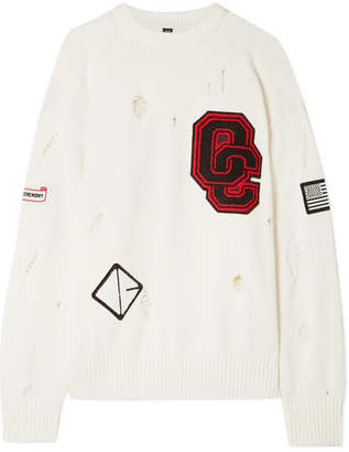 Opening Ceremony Varsity Appliquéd Distressed Cotton-blend Sweater - Off-white