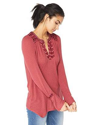 Lucky Brand Women's Long Sleeve Drop Needle Embroidered Top