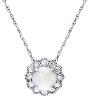 Sonatina 10K White Gold & Opal Flower Birthstone Pendant Necklace