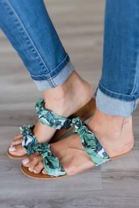 Palm Leaf Bow Sandals