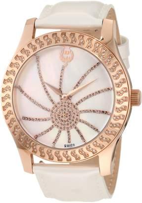 Brillier Women's 03-32421-07 Kalypso Rose-Tone White Leather Watch