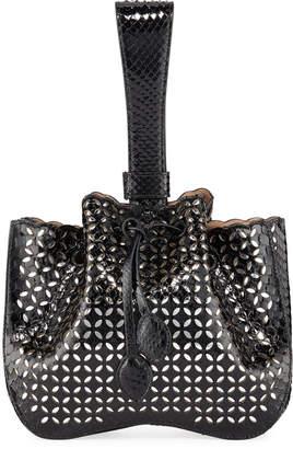 Alaia Rose Marie Small Python Wristlet Bucket Bag