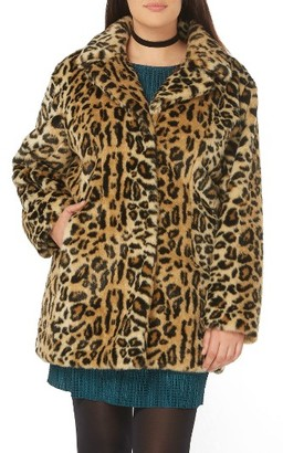 Plus Size Women's Evans Leopard Print Faux Fur Coat $139 thestylecure.com