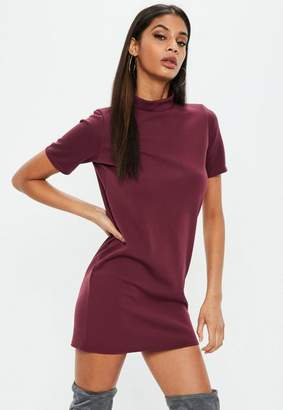Missguided Burgundy High Neck Scuba Shift Dress