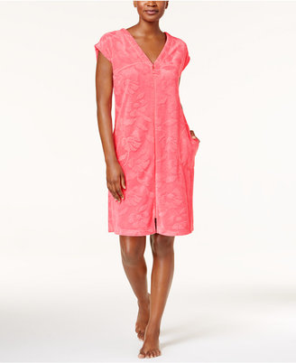 Miss Elaine Embossed Micro-Terry Zip-Front Robe $60 thestylecure.com