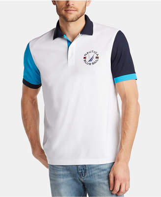 Nautica Men Blue Sail Classic Fit Moisture-Wicking Colorblock Polo