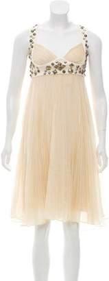Diane von Furstenberg Sleeveless Embellished Pleated Midi Dress