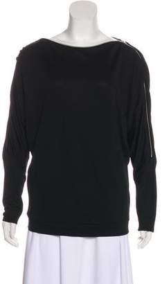 L'Agence Zipper Accent Long Sleeve Top