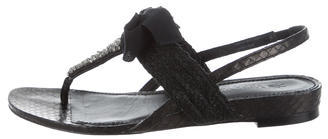 Vera Wang Snakeskin Jewel Sandals $145 thestylecure.com