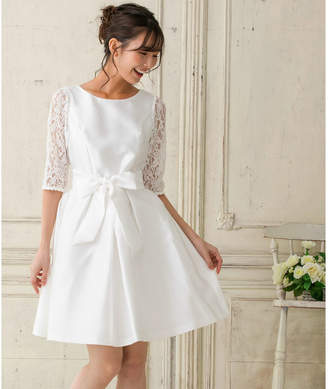 form forma 【結婚式・ウェディングドレス】レーススリーブ ウェストタックフレアワンピース