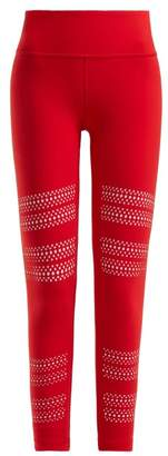 Track & Bliss - Go With The Flow Laser Cut Performance Leggings - Womens - Red