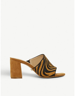 Dune Marsaye tiger-patterned leather heeled mules