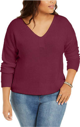 Planet Gold Derek Heart Trendy Plus Size Lace-Up-Back Sweater