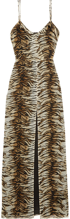 Saint Laurent Saint Laurent Tiger-print silk-georgette gown