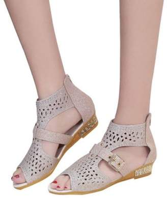 Meigar Women's Causal Gladiator Wedges Sandals Hollow High Heels Shoes
