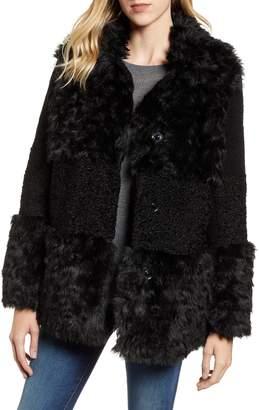 Kensie Faux Fur Patchwork Coat