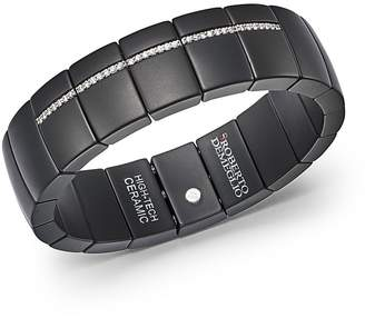 Luce Roberto Demeglio 18K White Gold & Matte Black Ceramic Domino Rectangular Stretch Bracelet with and Diamonds