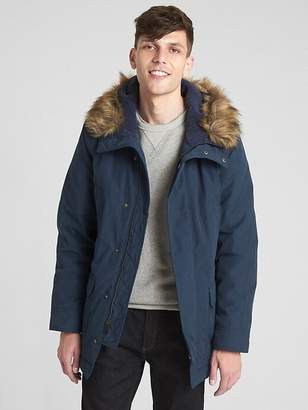 Hooded Down Parka Jacket with Faux-Fur Trim