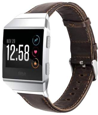 Fitbit Ionic Watch Bands, Mignova Genuine Leather Wristband Bracelet Watch Band Strap with Stainless Steel Buckle Clasp for Ionic Smart Fitness Watch (Dark Brown)